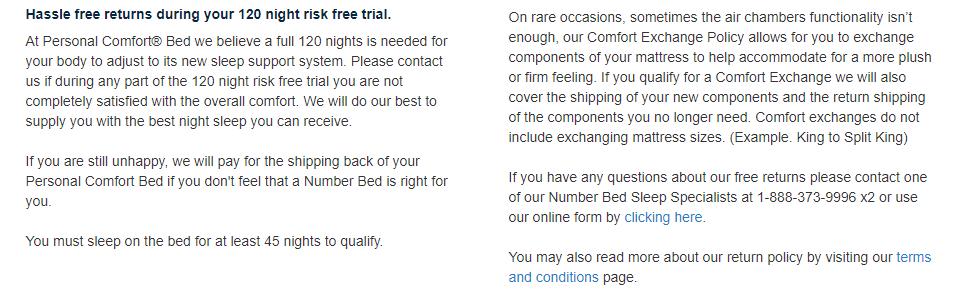 Personal Comfort Bed returns