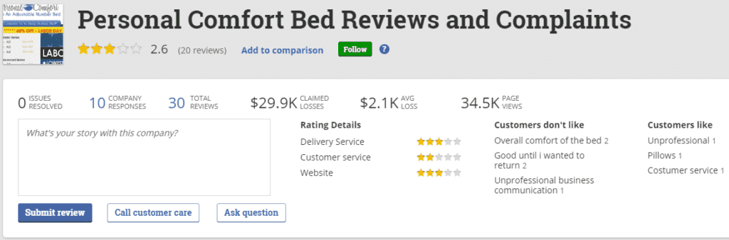 Personal Comfort Bed reviews