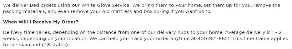 Tempur-Pedic White Glove Delivery