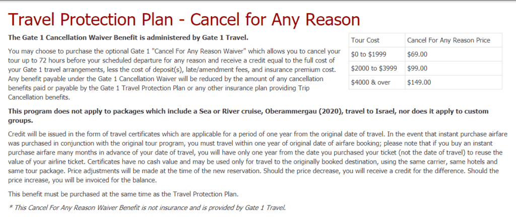 Gate1Travel travel protection plan
