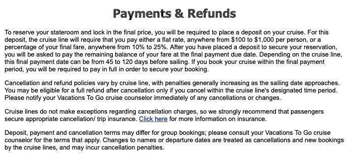 Great Value Vacations refund policy