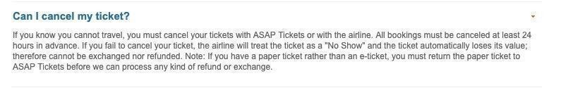 How can I cancel ASAP ticket