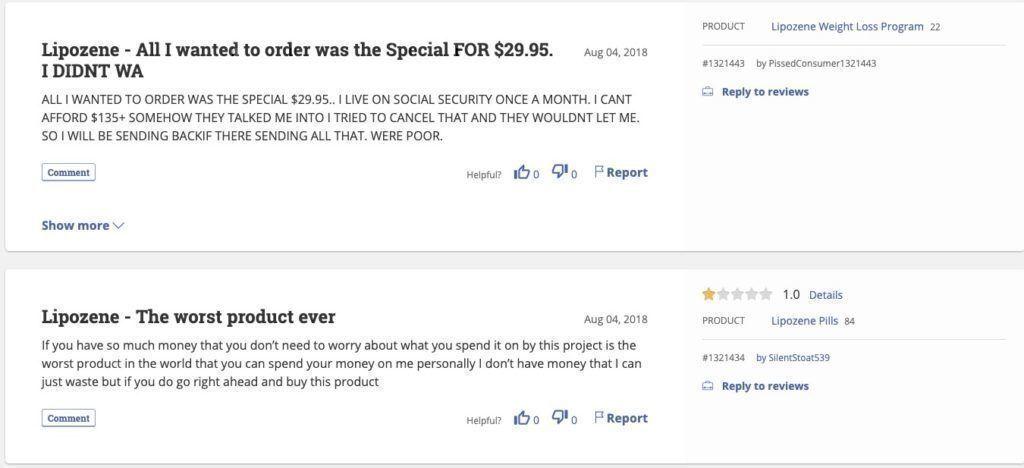 Lipozene.com complaints and reviews