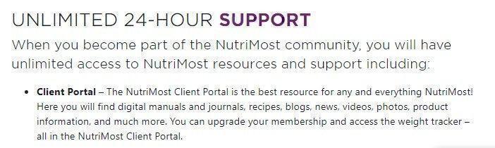 Nutrimost customer support