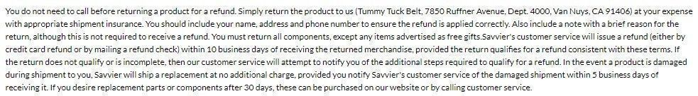 Tummy Tuck Belt guarantees
