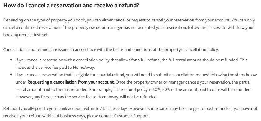 VRBO refunds