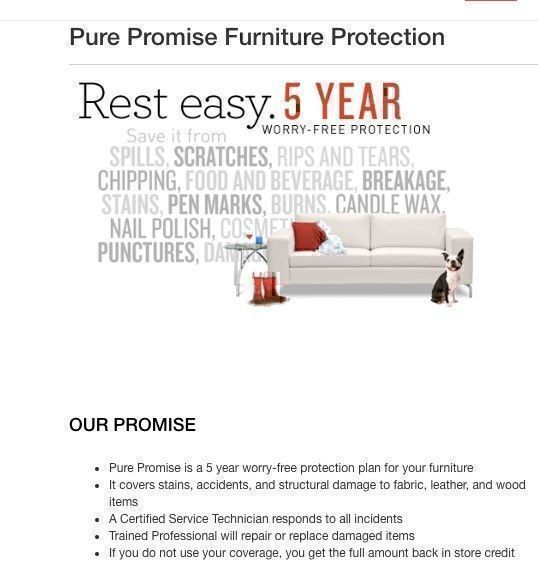 Value City Furniture pure promise furniture protection