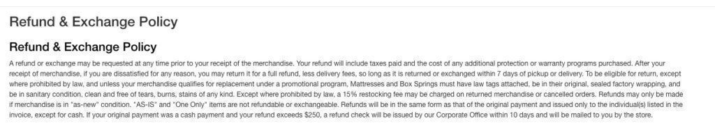 Value City Furniture refund policy