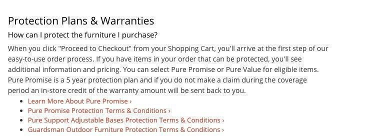 Value City Furniture warranty policy
