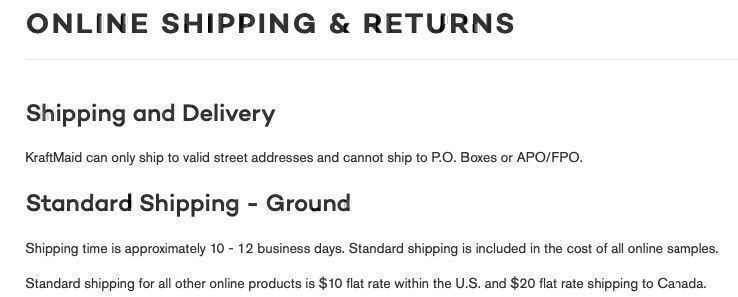 KraftMaid shipping policy