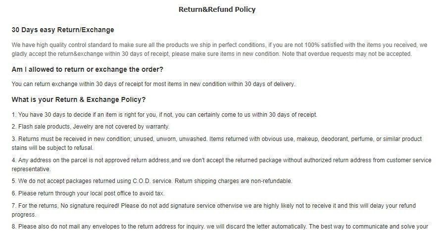 Rosewe refund policy