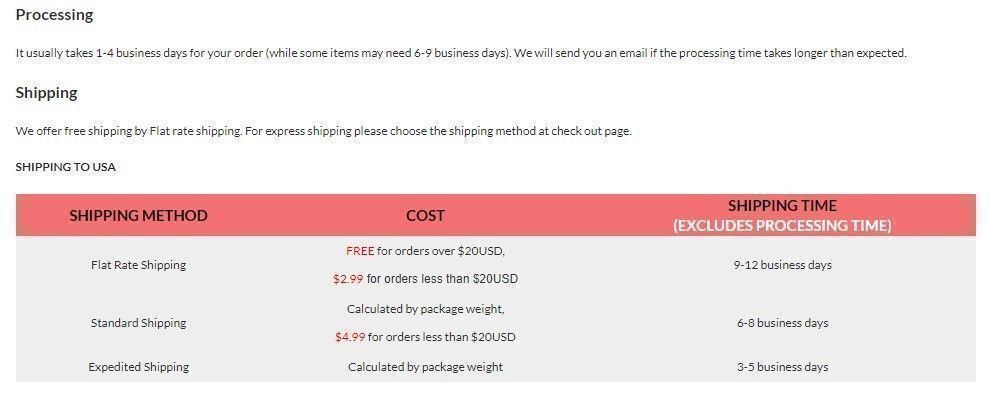 Rotita shipping policy