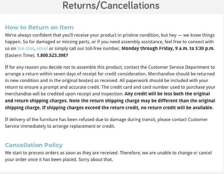 Sauder furniture return policy