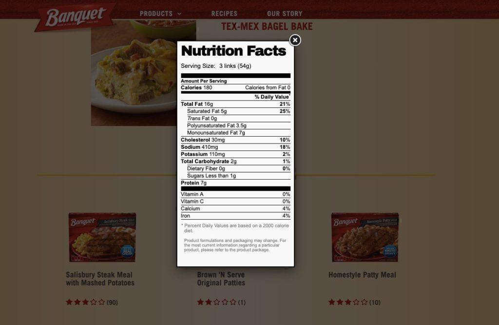 Banquet Meals nutritional information