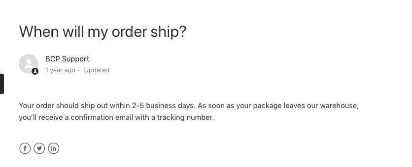 Best Choice Products shipping policy