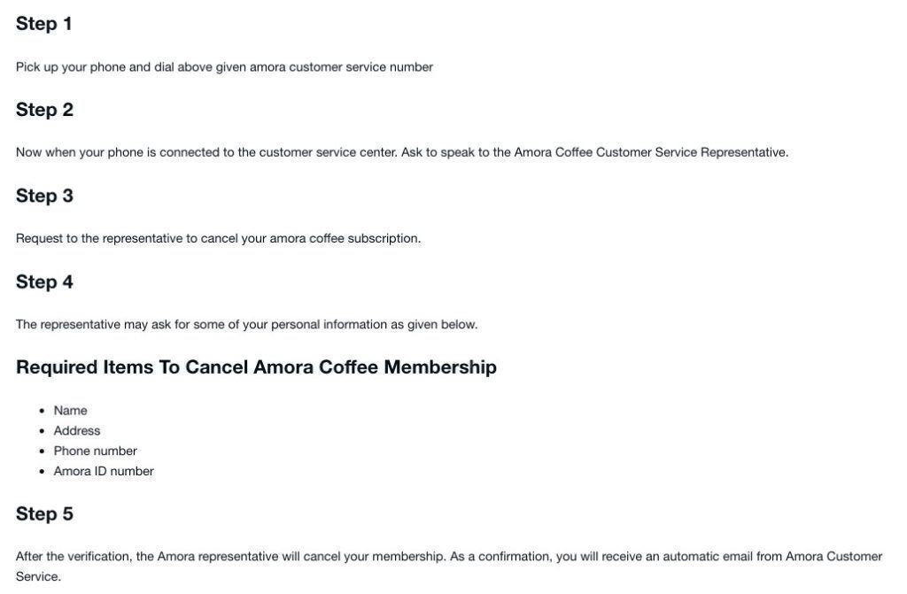 What is Amora Coffee cancellation policy