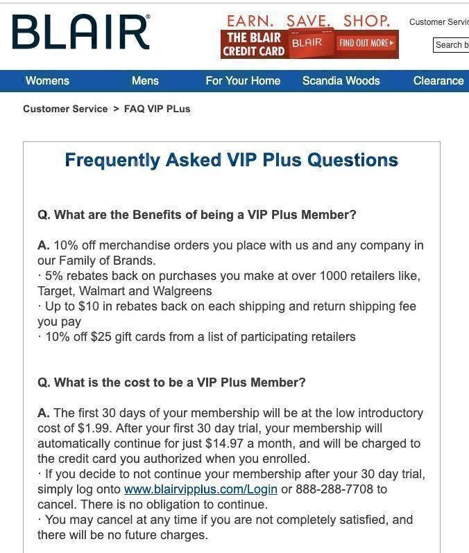 Blair VIP program