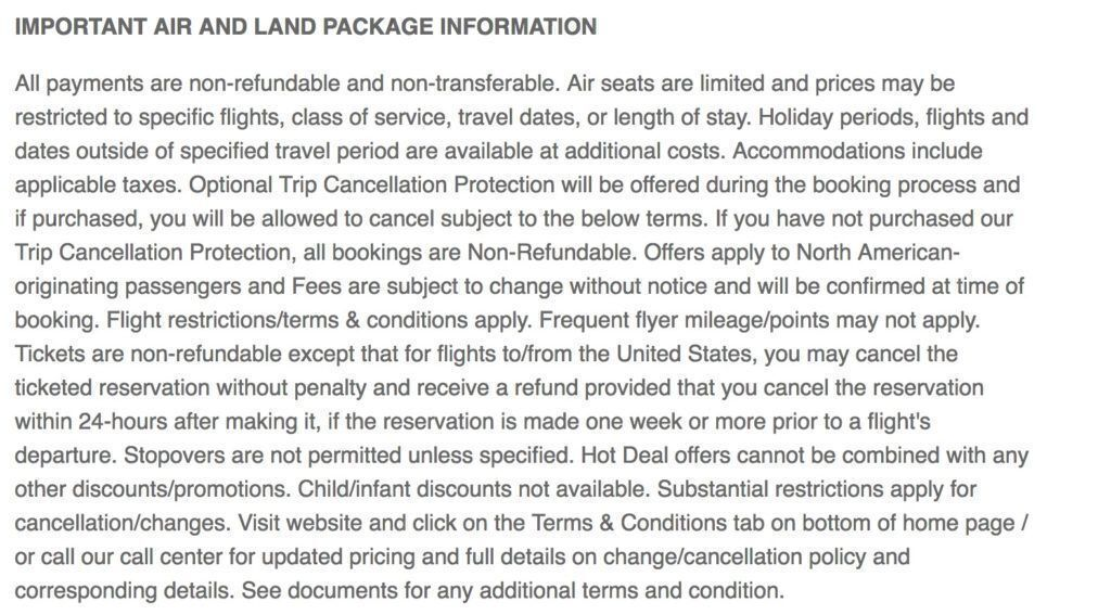 Great Value Vacations cancelation policy