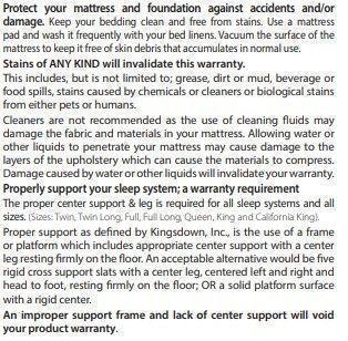 Kingsdown Mattress warranty