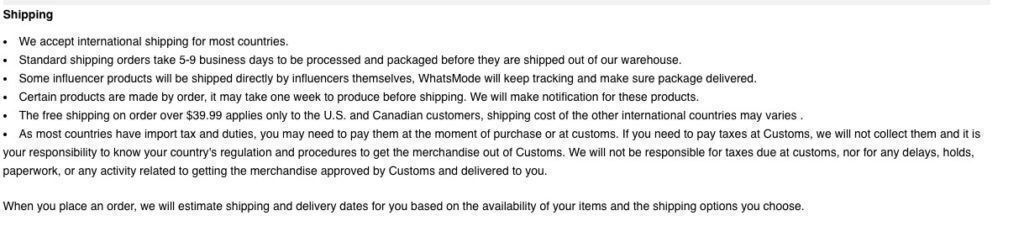 whatsmode shipping policy