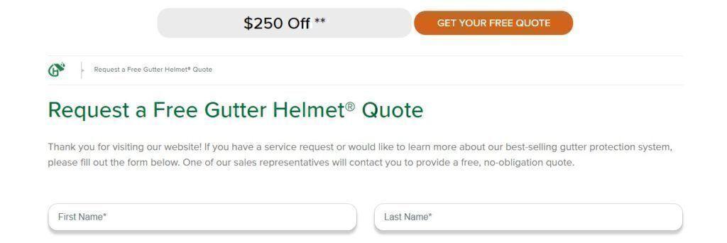 Free Gutter Helmet Quote Request