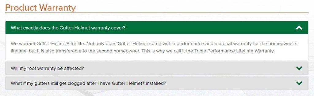 Gutter Helmet warranty