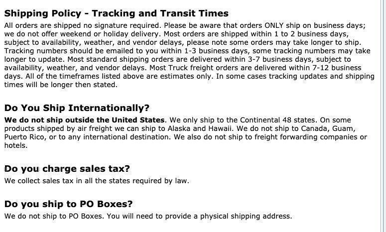 Partsgeek shipping policy