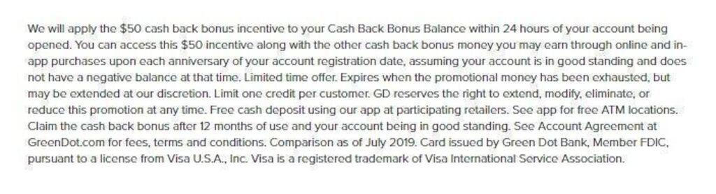 Green Dot Corporation cash back bonus