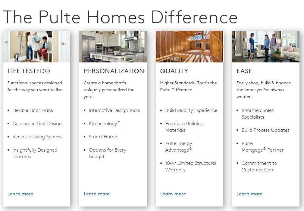 Pulte Homes features