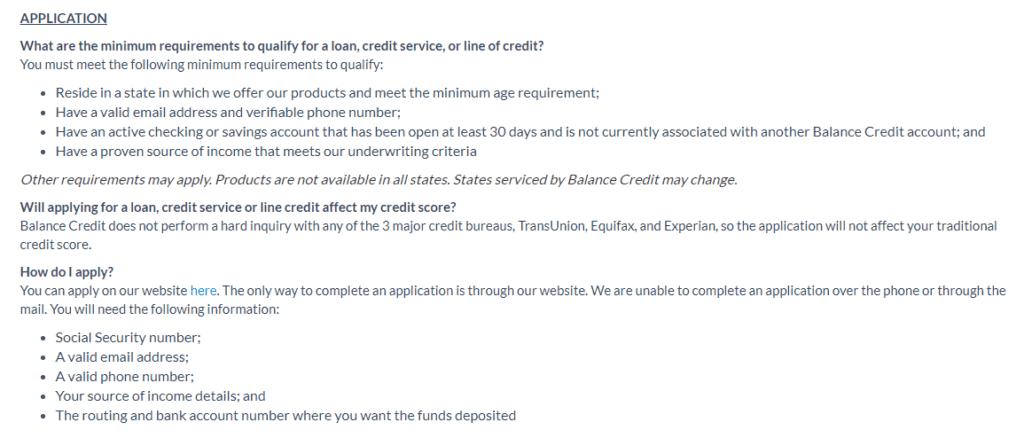 balance credit application