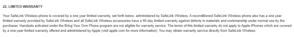 safelink limited warranty