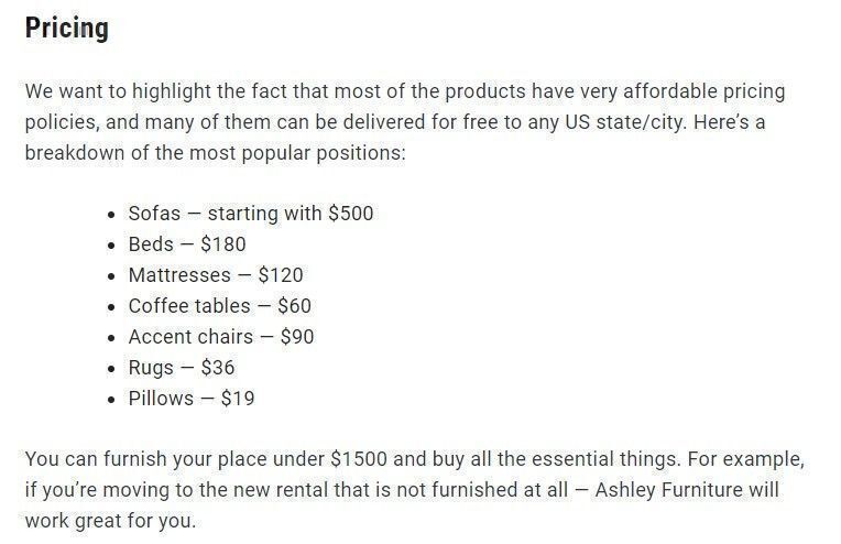Ashley Furniture prices