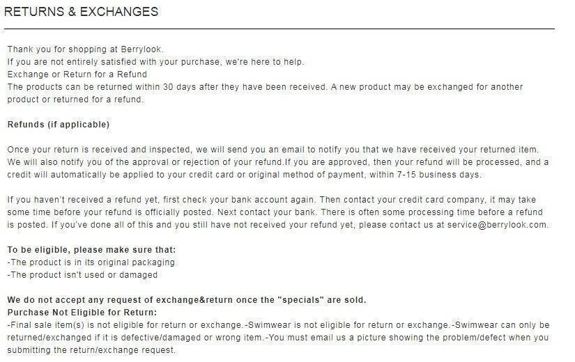 Berrylook return and exchange policy