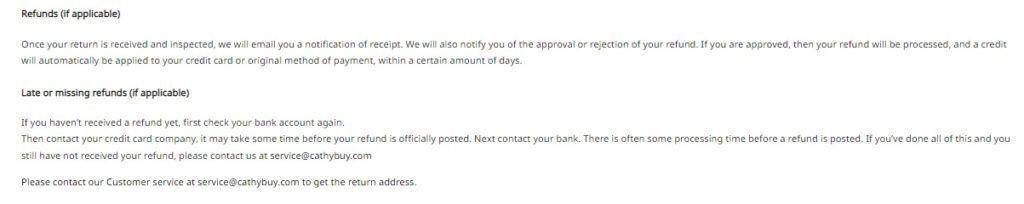 Cathybuy refund policy