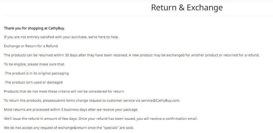 Cathybuy return and exchange policy