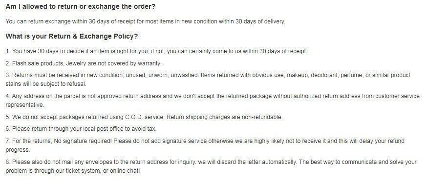 Rosewe return and refund policies