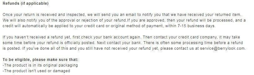 berrylook refund policy
