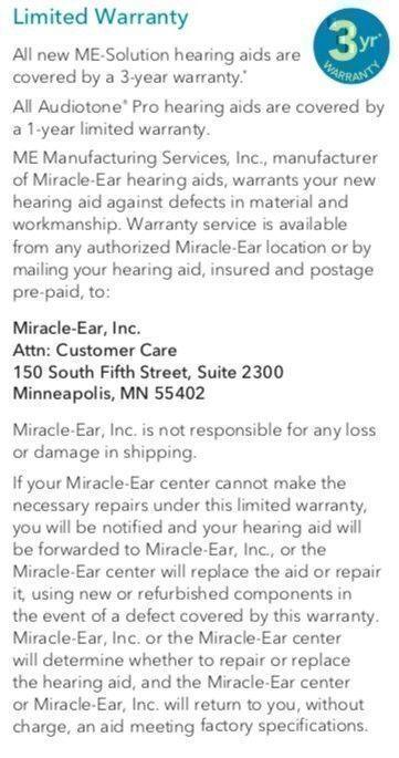 miracle ear limited warranty