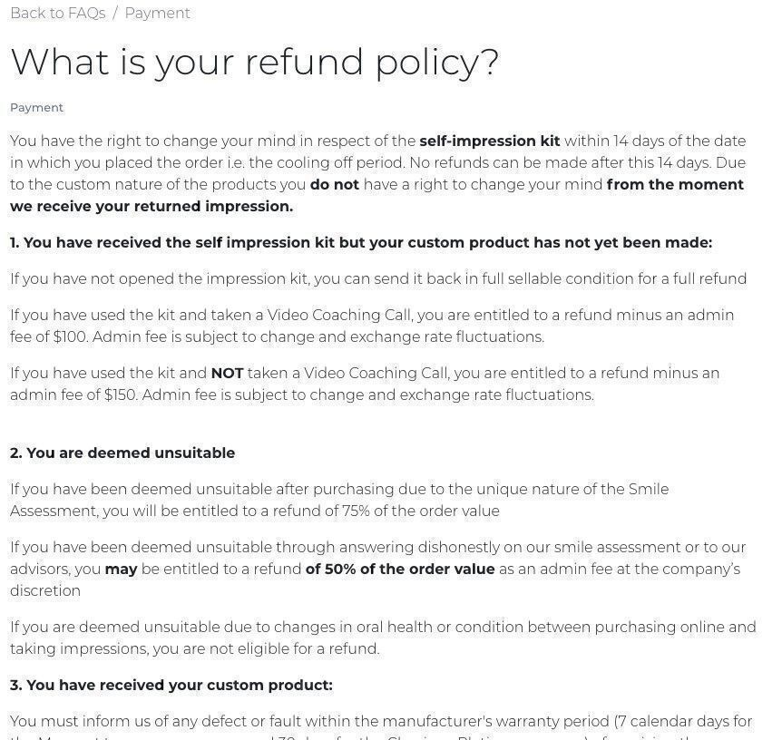 Instasmile refund policy
