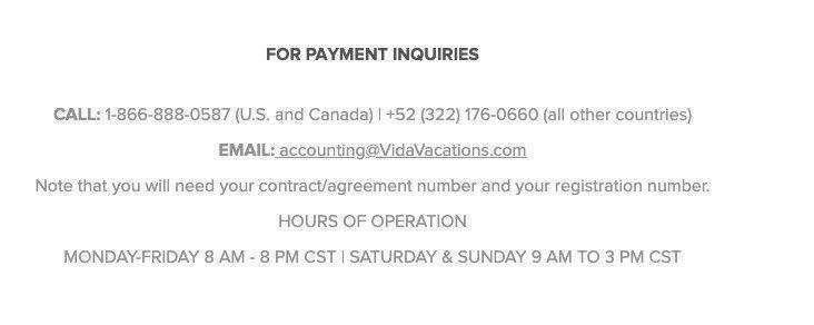 Vida Vacations payment inquiries