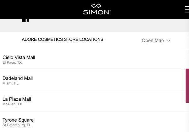 Adore Cosmetics locations