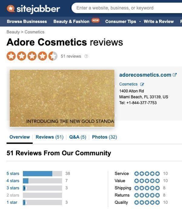 Adore Cosmetics rating
