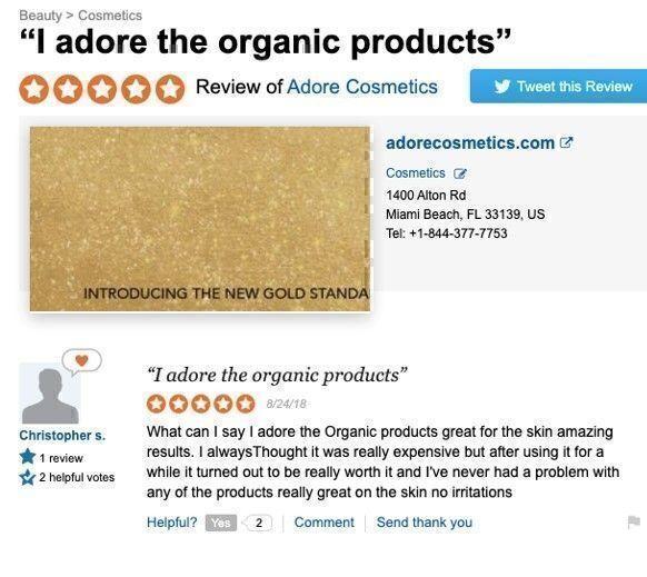 Adore Cosmetics reviews