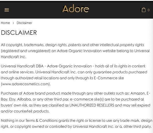 Adore cosmetics disclaimer