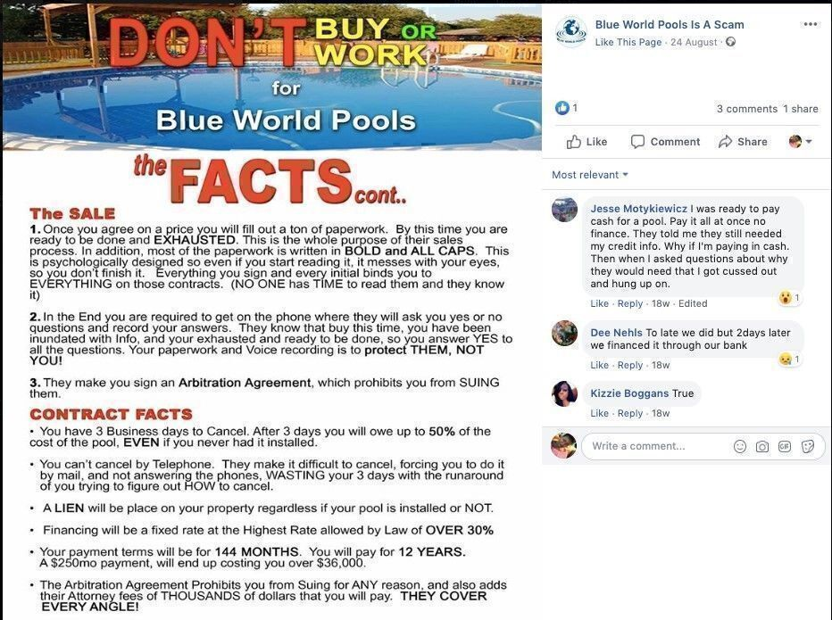 Is Blue World Pools a scam