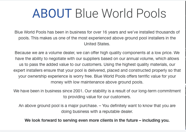 Is Blue World Pools legit