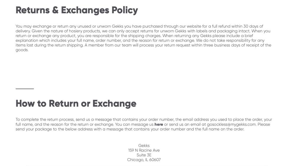 Gekks return policy