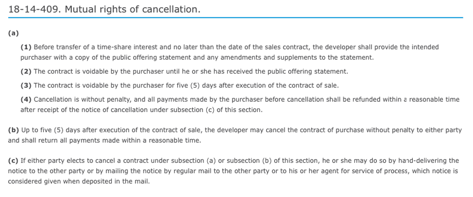 Sapphire Resorts rights of cancelation