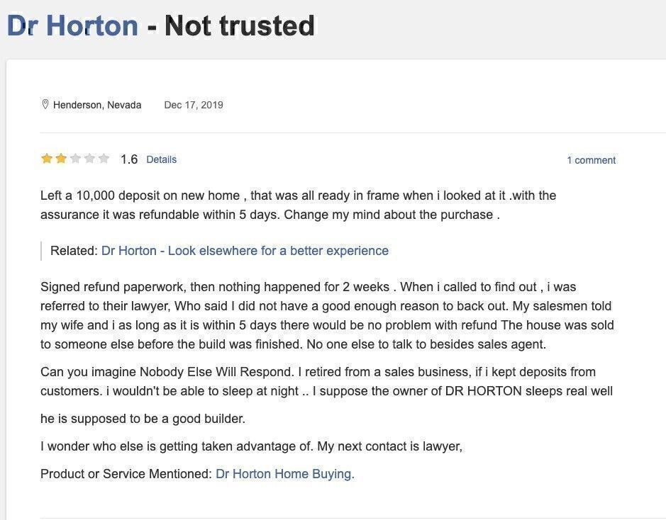 DR Horton reviews