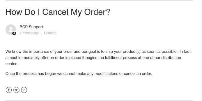 How do I cancel my Best Choice Products order